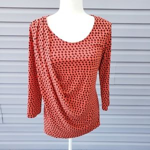 Vince Camuto drape blouse orange black houndstooth